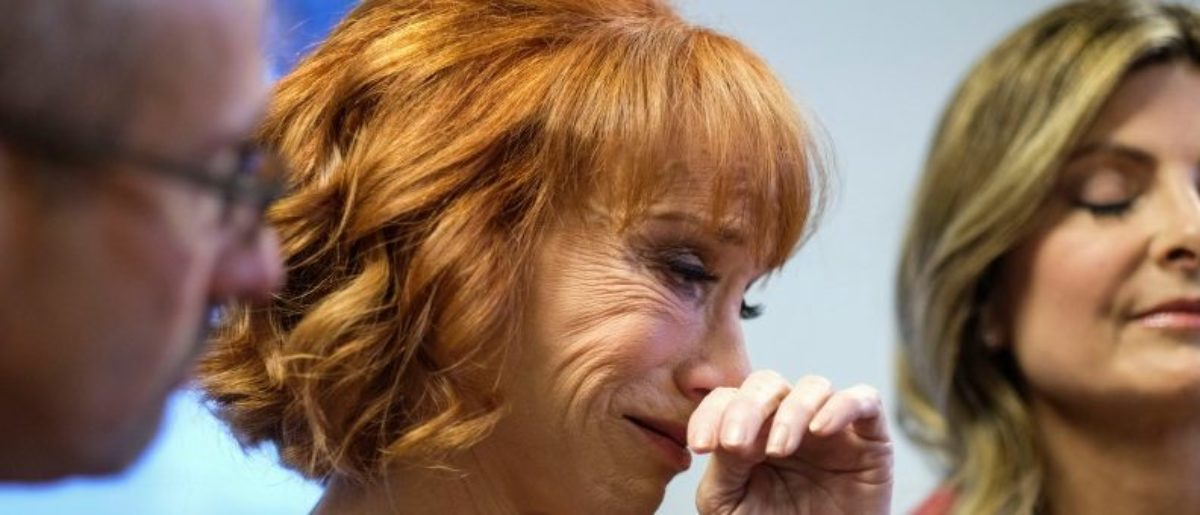 Comedian Kathy Griffin (C) cries during a news conference in Woodland Hills, Los Angeles, California, U.S., June 2, 2017. REUTERS/Ringo Chiu