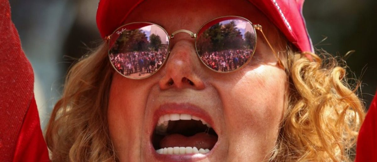 A protester cheers during the Trump Free Speech Rally in Portland, Oregon, U.S. June 4, 2017. REUTERS/David Ryder