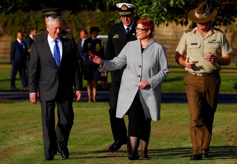 Former U.S. Secretary of Defence Jim Mattis walks with Australia's Minister for Defence Marise Payne before an inspection of an honour guard as part of the 2017 Australia-United States Ministerial Consultations (AUSMIN) meetings at the Australian Army's Victoria Barracks in Sydney, Australia, June 5, 2017. REUTERS/David Gray