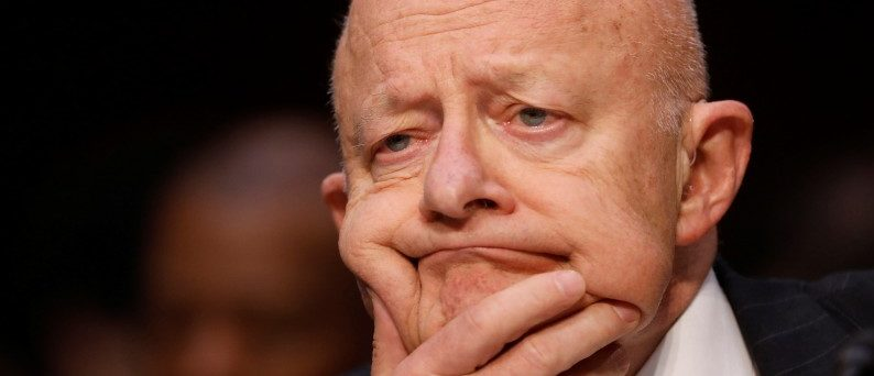 Former Director of National Intelligence James Clapper testifies about potential Russian interference in the presidential election before the Senate Judiciary Committee on Capitol Hill. REUTERS/Aaron P. Bernstein