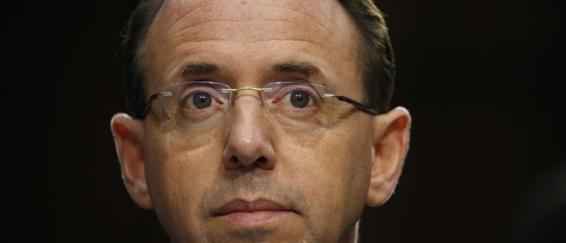 Deputy Attorney General Rod Rosenstein  testifies before a Senate Intelligence Committee hearing on the Foreign Intelligence Surveillance Act (FISA) in Washington, U.S., June 7, 2017. REUTERS/Kevin Lamarque