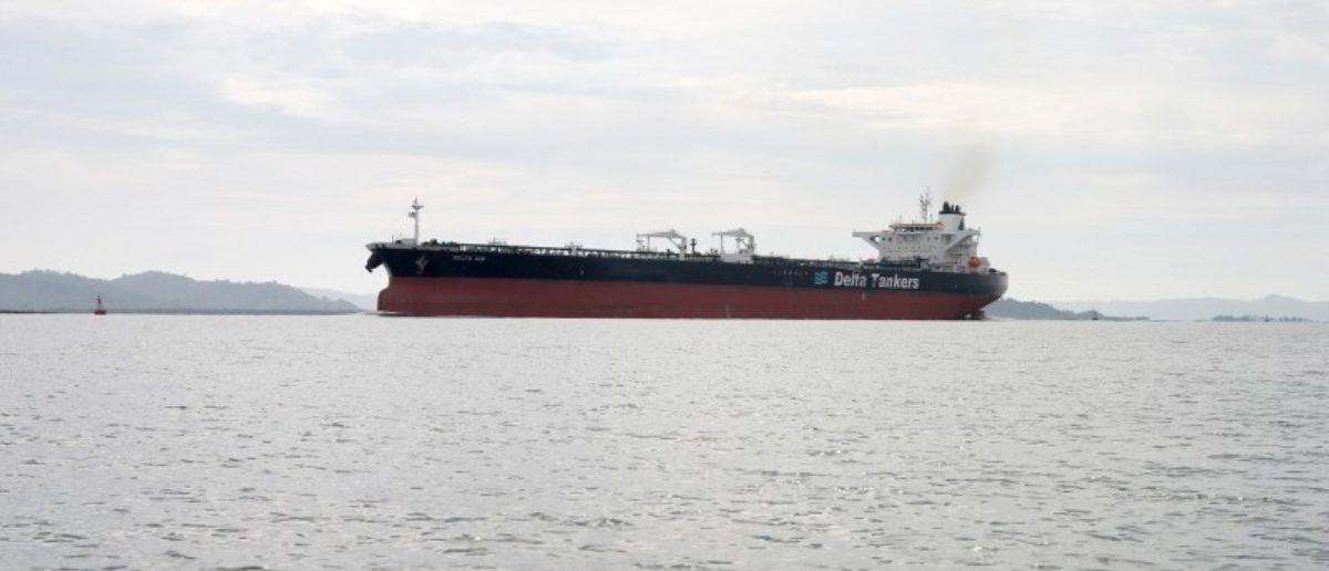 An oil tanker ship seen in Kyaukphyu river near Made island outside Kyaukphyu