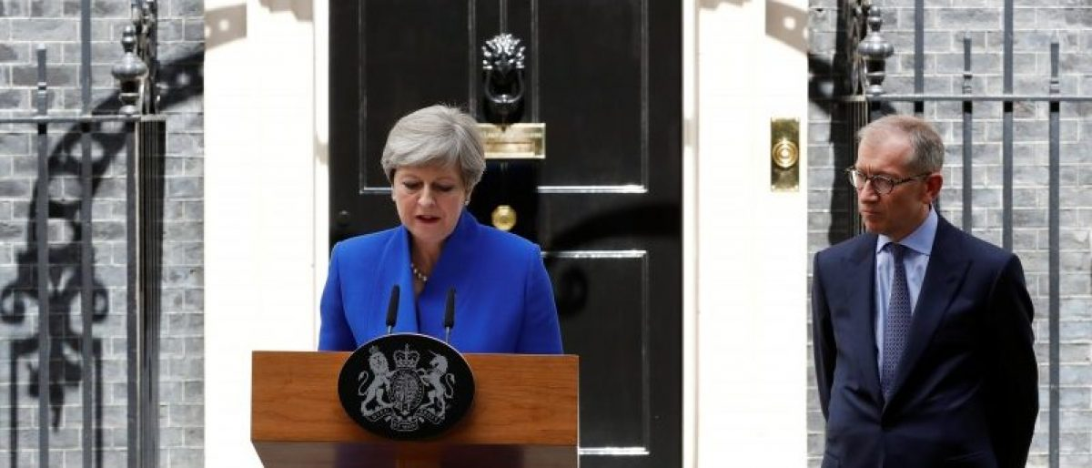 Britain's Prime Minister Theresa May addresses the country after Britain's election at Downing Street in London, Britain June 9, 2017. REUTERS/Stefan Wermuth