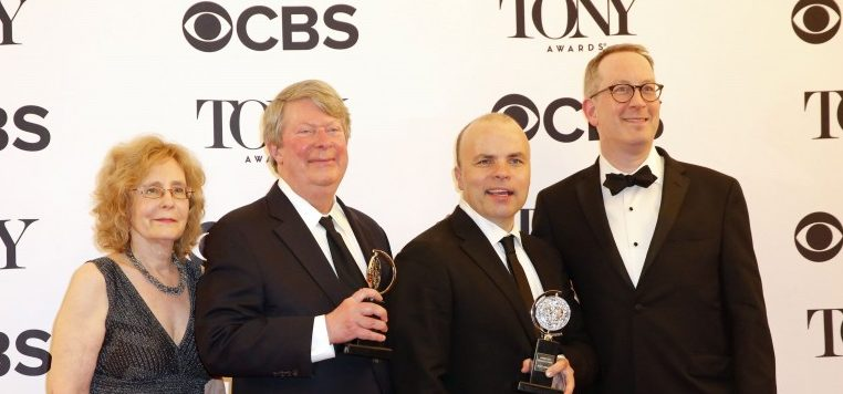 71st Tony Awards – Photo Room – New York City, U.S., 11/06/2017 -J.T. Rogers (2nd R) and colleagues with Best Play award for Oslo. REUTERS/Eduardo Munoz