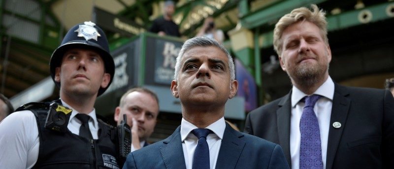 London Mayor Sadiq Khan stands in Borough Market, which officially re-opened today following the recent attack, in central London, Britain June 14, 2017. REUTERS/Hannah McKay