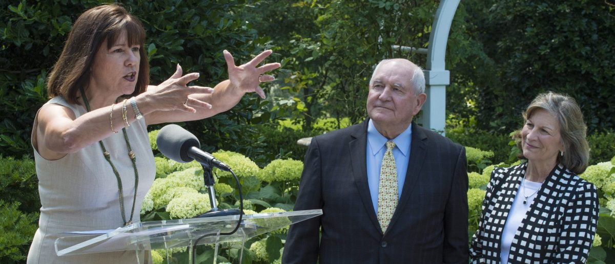 U.S. Department of Agriculture (USDA) Secretary Sonny Perdue and his wife Mary joined the Second Lady of the United States Karen Pence to unveil a bee hive on the Vice President's residential grounds in Washington, D.C., June 6, 2017. Here, Ms. Pence speaks about her involvement and interest in bees, being she maintained bee hives during her time in the governor's mansion in Indiana. (Photo: Flickr/USDA/Preston Keres/Public Domain)