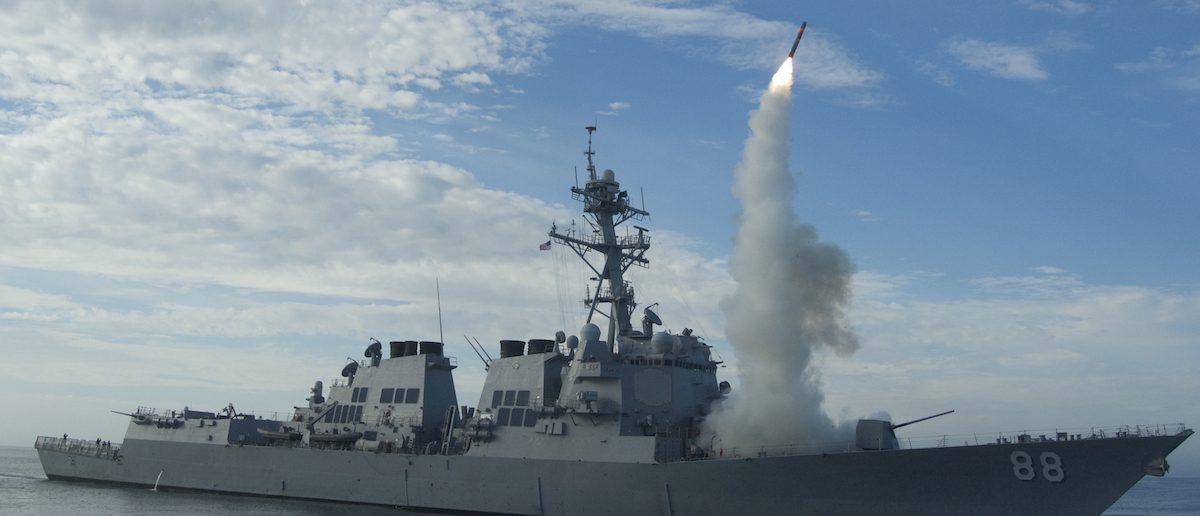 PACIFIC OCEAN (Sept. 29, 2010) Sailors aboard the guided-missile destroyer USS Preble (DDG 88) conduct an operational tomahawk missile launch while underway in a training area off the coast of California. The launch tested the proficiency of the crew as well as the missile's ability to track and destroy targets well over the horizon. (U.S. Navy photo by Mass Communication Specialist 1st Class Woody Paschall/Released)
