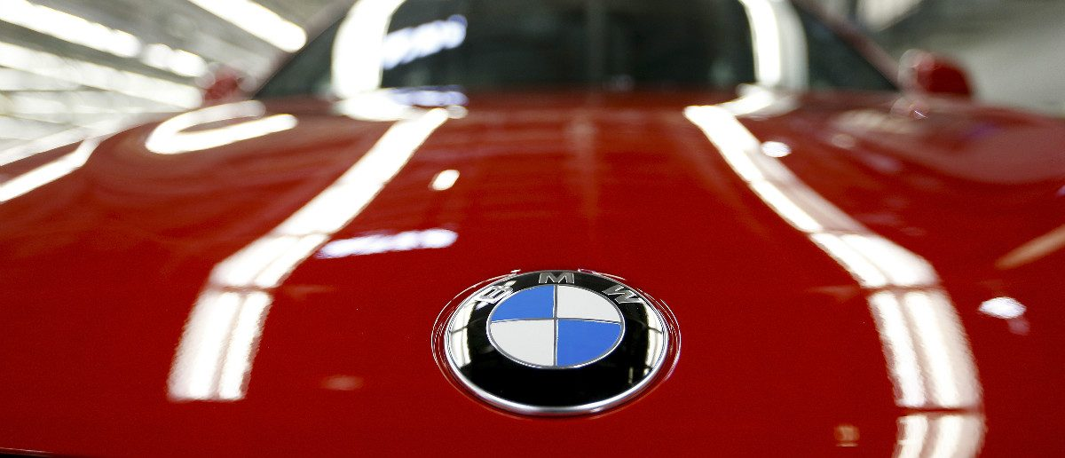 The BMW logo is seen on the hood of a finished X4 at the BMW manufacturing plant in Spartanburg, South Carolina. (REUTERS/Chris Keane)