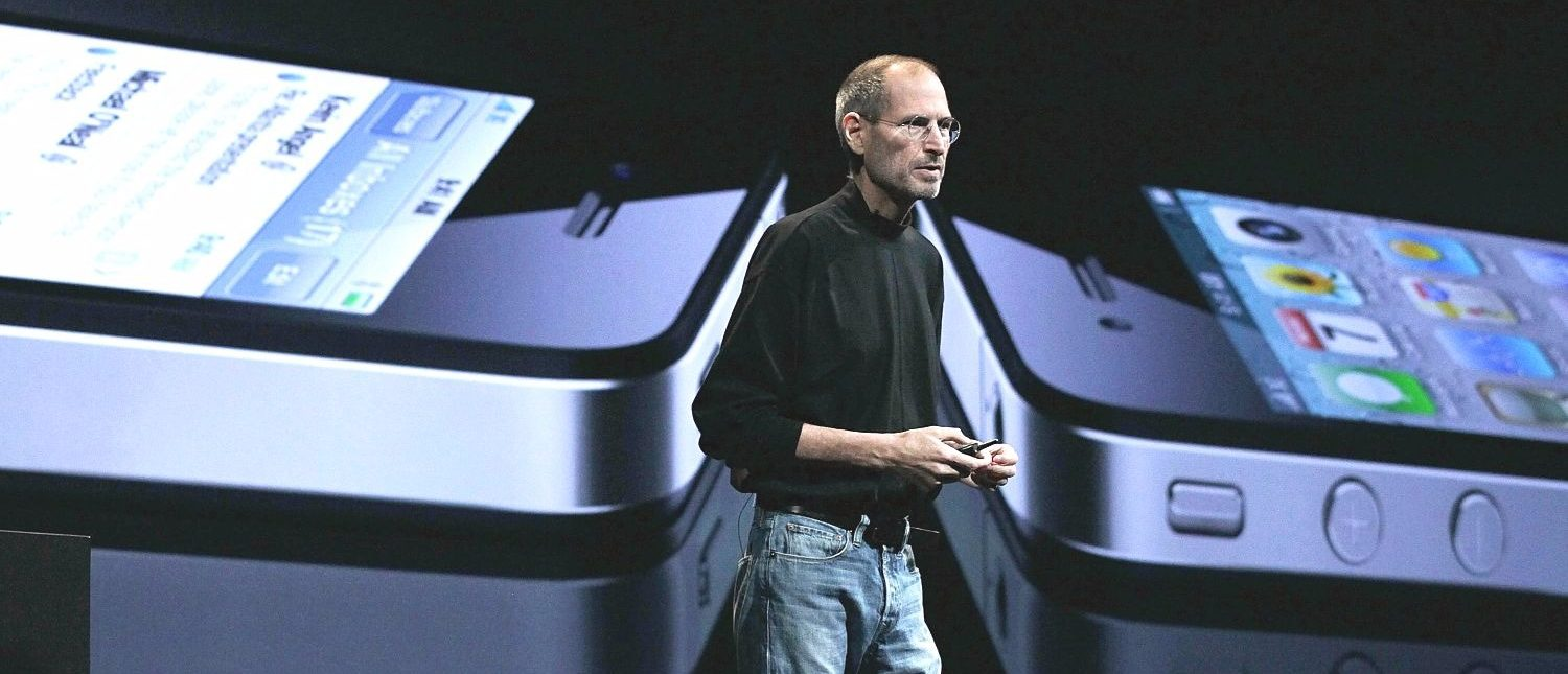SAN FRANCISCO - JUNE 07: Apple CEO Steve Jobs announces the new iPhone 4 as he delivers the opening keynote address at the 2010 Apple World Wide Developers conference June 7, 2010 in San Francisco, California. Jobs kicked off their annual WWDC with the announcement of the new iPhone 4. (Photo by Justin Sullivan/Getty Images)