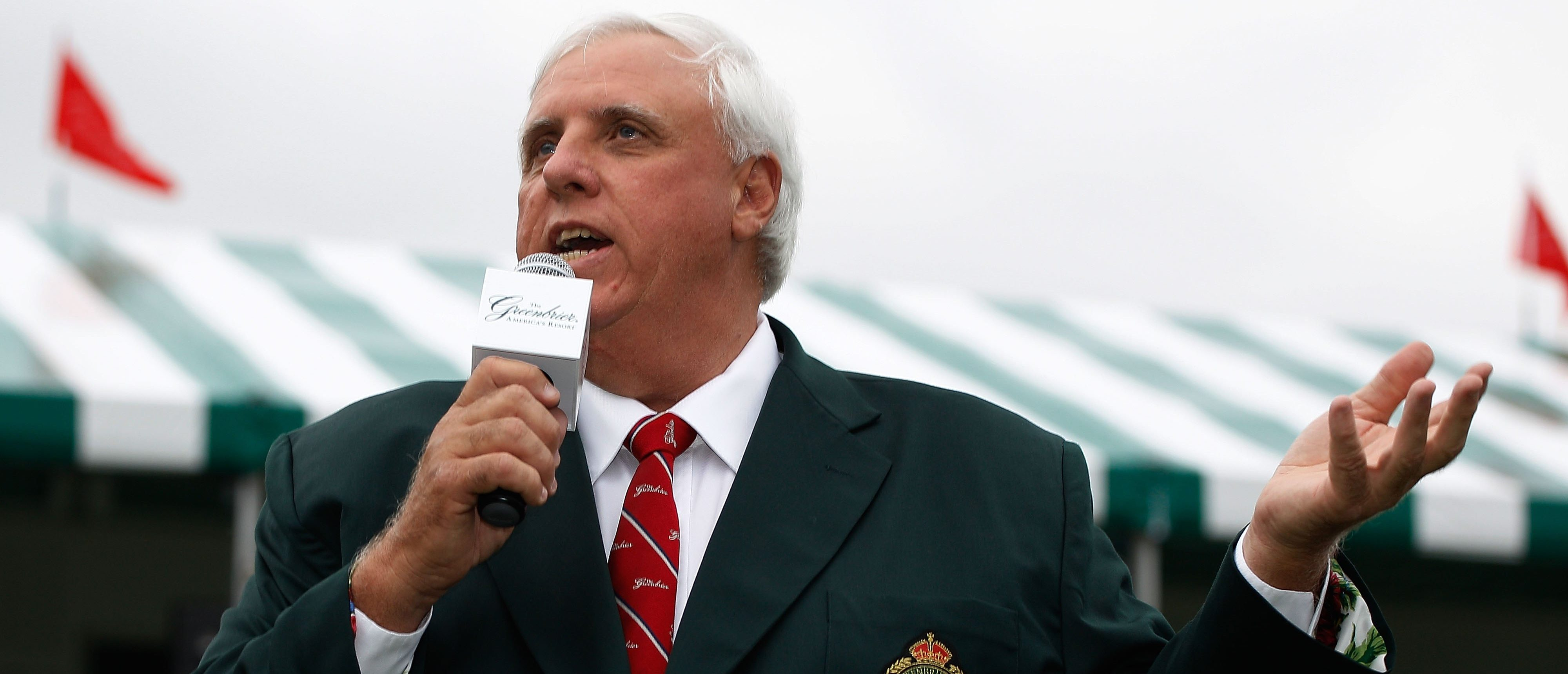 WHITE SULPHUR SPRINGS, WV - AUGUST 01: Jim Justice, owner of the Greenbrier Resort, speaks to the gallery after Stuart Appleby's victory at the Greenbrier Classic on August 1, 2010 in White Sulphur Springs, West Virginia. (Photo by Scott Halleran/Getty Images)