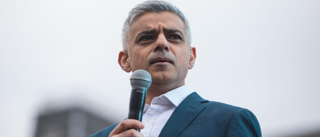 London Mayor Sadiq Khan addresses the crowd as thousands gather to watch a free screening and UK premier of Iranian film The Salesman in Trafalgar Square on February 26, 2017 in London, England. The film's director Asghar Farhadi said that he would boycott the Oscars ceremony, held tonight in Hollywood, in protest of US President Donald Trump's immigration policy. (Photo by Jack Taylor/Getty Images)