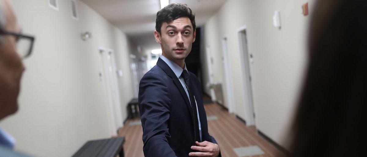 MARIETTA, GA - APRIL 18:  Democratic candidate Jon Ossoff speaks with the media at a campaign office as he runs for Georgia's 6th Congressional District on April 18, 2017 in Marietta, Georgia. Ossoff is running in a special election to replace Tom Price, who is now the Secretary of Health and Human Services. Today's election will fill a congressional seat that has been held by a Republican since the 1970s.  (Photo by Joe Raedle/Getty Images)