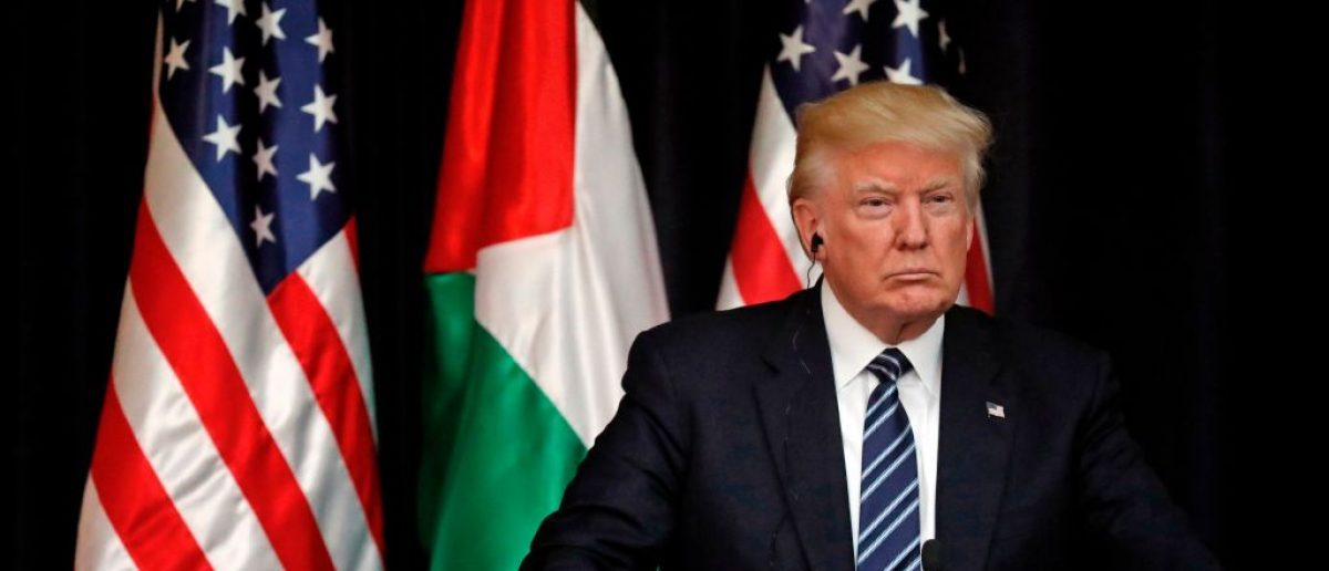 US President Donald Trump is seen during a joint press conference with the Palestinian leader at the presidential palace in the West Bank city of Bethlehem on May 23, 2017. (Photo credit: THOMAS COEX/AFP/Getty Images)