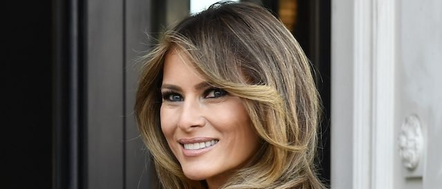 First Lady of the US Melania Trump arrives to visit to the Magritte Museum, on May 25, 2017, in Brussels, on the sidelines of the NATO (North Atlantic Treaty Organization) summit. / AFP PHOTO / BELGA / ERIC LALMAND / Belgium OUT (Photo credit should read ERIC LALMAND/AFP/Getty Images)