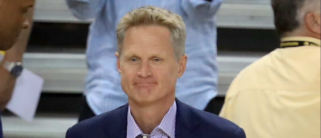 OAKLAND, CA - JUNE 04: Steve Kerr of the Golden State Warriors stands prior to Game 2 of the 2017 NBA Finals at ORACLE Arena on June 4, 2017 in Oakland, California. NOTE TO USER: User expressly acknowledges and agrees that, by downloading and or using this photograph, User is consenting to the terms and conditions of the Getty Images License Agreement. (Photo by Ronald Martinez/Getty Images)