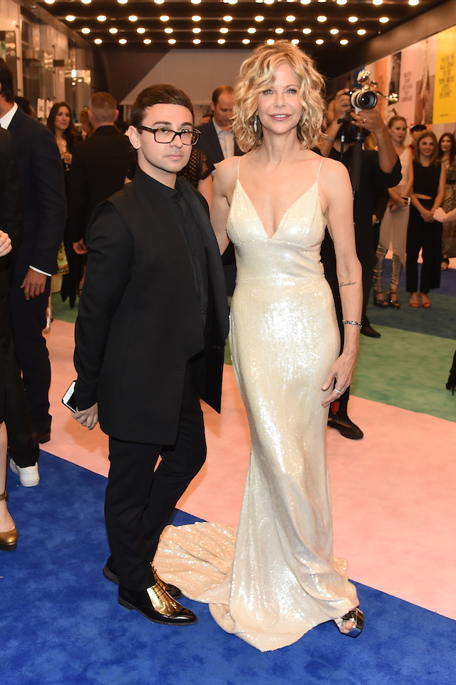 NEW YORK, NY - JUNE 05: Designer Christian Siriano and Meg Ryan attend the 2017 CFDA Fashion Awards Cocktail Hour at Hammerstein Ballroom on June 5, 2017 in New York City. (Photo by Nicholas Hunt/Getty Images)