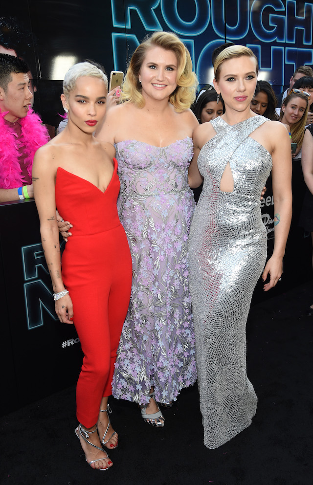 NEW YORK, NY - JUNE 12: Actors Zoe Kravitz, Jillian Bell and Scarlett Johansson attend New York Premiere of Sony's ROUGH NIGHT presented by SVEDKA Vodka at AMC Lincoln Square Theater on June 12, 2017 in New York City. (Photo by Jamie McCarthy/Getty Images for SVEDKA Vodka)