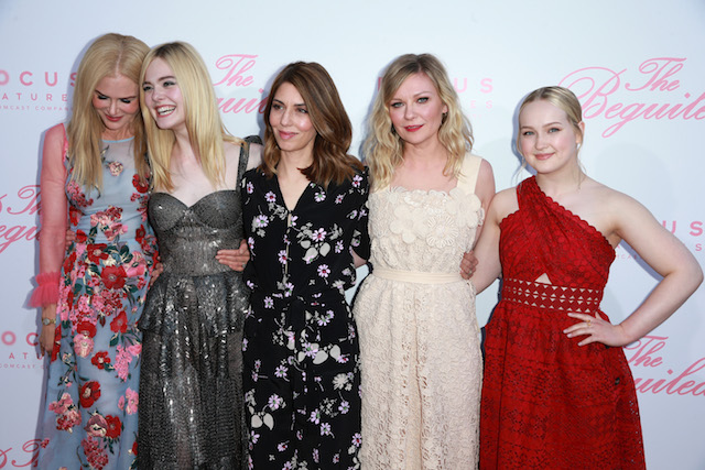 """LOS ANGELES, CA - JUNE 12: (L-R) Actors Nicole Kidman, Elle Fanning, writer/director Sofia Coppola and actors Kirsten Dunst and Emma Howard attend the premiere of Focus Features' """"The Beguiled"""" at the Directors Guild of America on June 12, 2017 in Los Angeles, California. (Photo by Rich Fury/Getty Images)"""