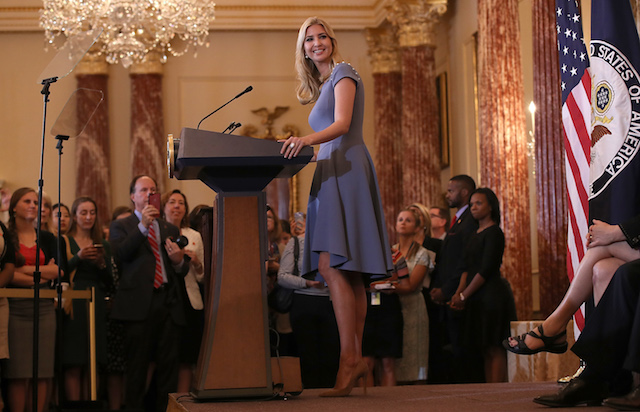 WASHINGTON, DC - JUNE 27: Ivanka Trump delivers remarks at the U.S. State Department during the 2017 Trafficking in Persons Report ceremony June 27, 2017 in Washington, DC. The ceremony honored eight men and women from around the world whose efforts have made a lasting impact on the fight against modern slavery. (Photo by Win McNamee/Getty Images)