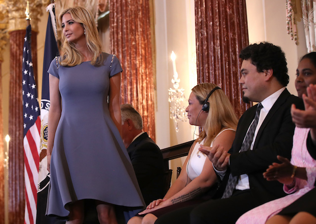 WASHINGTON, DC - JUNE 27: Ivanka Trump concludes her remarks at the U.S. State Department during the 2017 Trafficking in Persons Report ceremony June 27, 2017 in Washington, DC. The ceremony honored eight men and women from around the world whose efforts have made a lasting impact on the fight against modern slavery. (Photo by Win McNamee/Getty Images)
