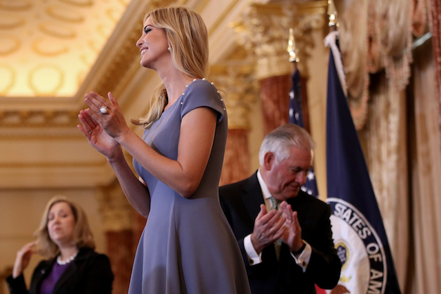 WASHINGTON, DC - JUNE 27: Ivanka Trump (C) and Secretary of State Rex Tillerson (R) participate in a 2017 Trafficking in Persons Report ceremony at the U.S. State Department June 27, 2017 in Washington, DC. The ceremony honored eight men and women from around the world whose efforts have made a lasting impact on the fight against modern slavery. (Photo by Win McNamee/Getty Images)