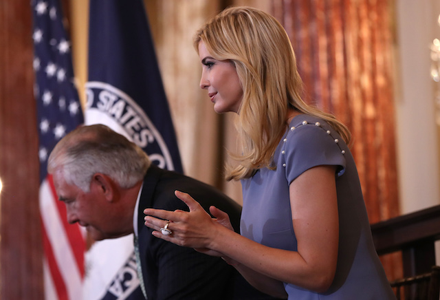 WASHINGTON, DC - JUNE 27: Ivanka Trump (R) and Secretary of State Rex Tillerson (L) participate in a 2017 Trafficking in Persons Report ceremony at the U.S. State Department June 27, 2017 in Washington, DC. The ceremony honored eight men and women from around the world whose efforts have made a lasting impact on the fight against modern slavery. (Photo by Win McNamee/Getty Images)