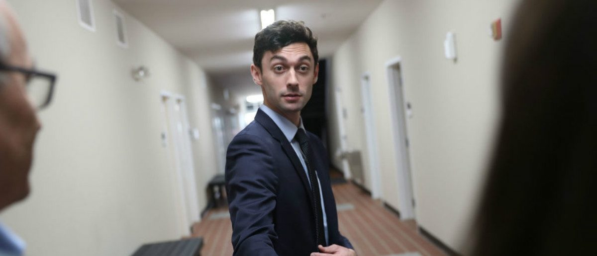 Democratic candidate Jon Ossoff speaks with the media at a campaign office in Marietta, Georgia (Joe Raedle/Getty Images)
