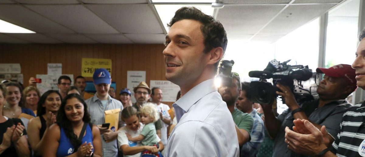Democratic candidate Jon Ossoff visits a campaign office to thank volunteers and supporters. (Joe Raedle/Getty Images)