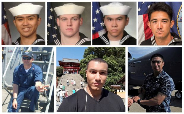 A combination photo of the dead sailors identified by the U.S. Navy in the collision incident between U.S. Navy destroyer USS Fitzgerald and Philippine-flagged merchant vessel south of Tokyo Bay on June 17, 2017. U.S. Navy/Handout via REUTERS