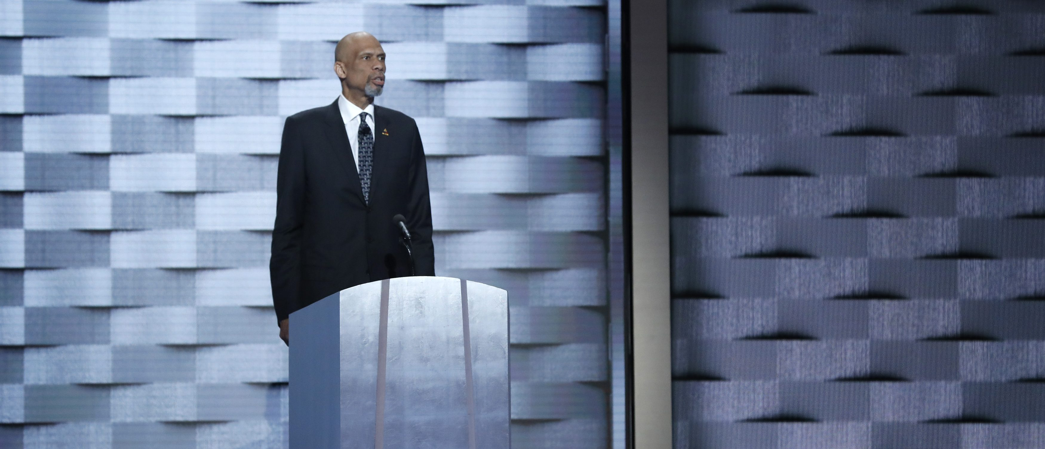 Retired NBA basketball star Kareem Abdul-Jabaar speaks on the fourth and final night at the Democratic National Convention in Philadelphia, Pennsylvania, U.S. July 28, 2016. REUTERS/Mark Kauzlarich - RTSK6CT