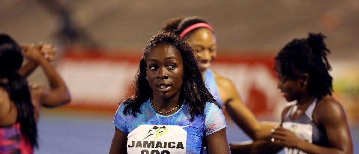 Athletics - Jamaica International Invitationals IWC Meet - women's 100m - National Stadium, Kingston, Jamaica - 20/5/17 - Morolake Akinosun (C) of the USA after competing. REUTERS/Gilbert Bellamy - RTX36SDA