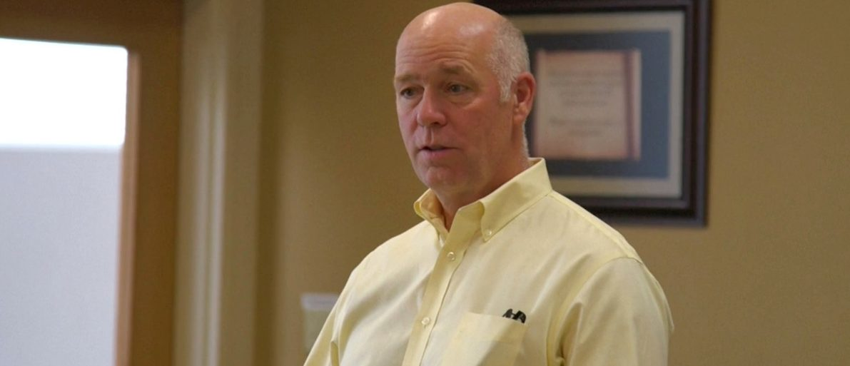 Montana Republican congressional candidate Greg Gianforte speaking to voters while campaigning for a special election in Missoula, Montana, U.S. in this still frame taken from May 24, 2017 video. REUTERS/Justin Mitchell - RTX37OKJ