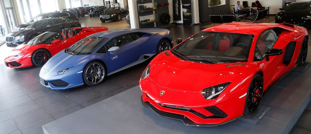 Lamborghini cars are displayed for sale inside a showroom in Beirut, Lebanon June 2, 2017. REUTERS/Mohamed Azakir - RTX38Q2X