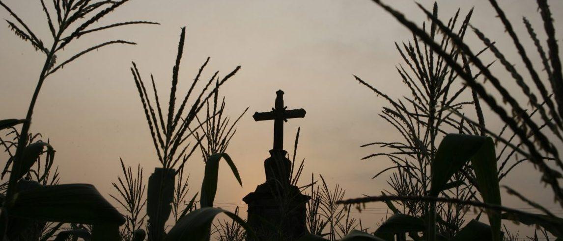 A cross stands at a corn field outside Hanoi April 16, 2009. REUTERS/Kham (VIETNAM SOCIETY) - RTXE1SY