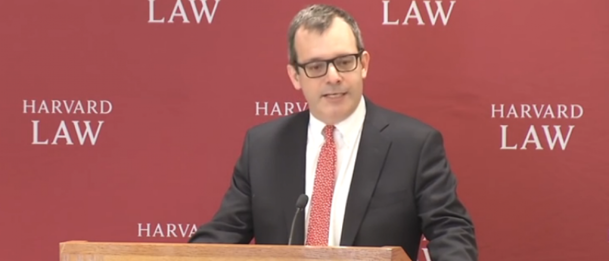 John Manning, the incoming dean of Harvard Law School, delivers the Scalia lecture in 2017. (YouTube Screenshot/HarvardLawSchool)