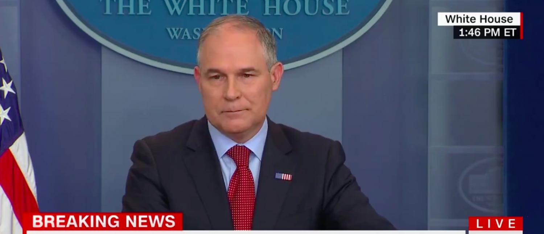Screen Shot EPA chief Scott Pruitt at White House briefing (CNN: June 2, 2017)
