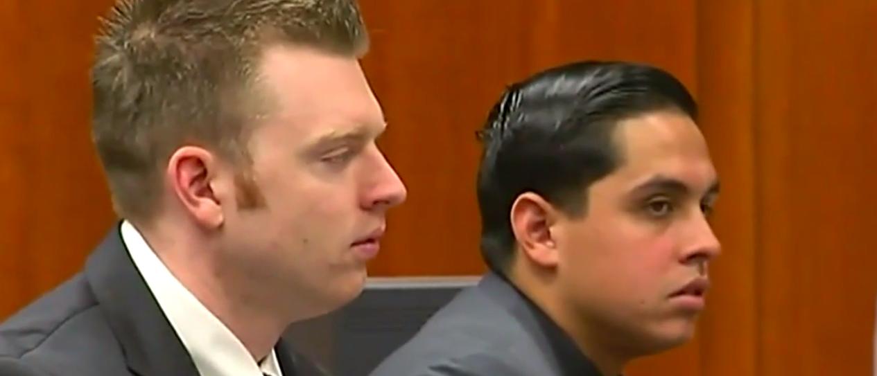 Deputies Matthew Farris (left) and Rafael Rodriguez (right) on trial for the 2015 murder of inmate Michael Tyree (Screenshot/KTVU news)