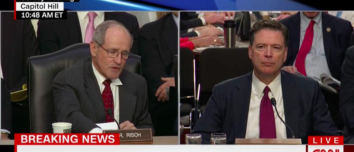 Screen Shot Comey Testifies Senate Intel (CNN: June 8, 2017)
