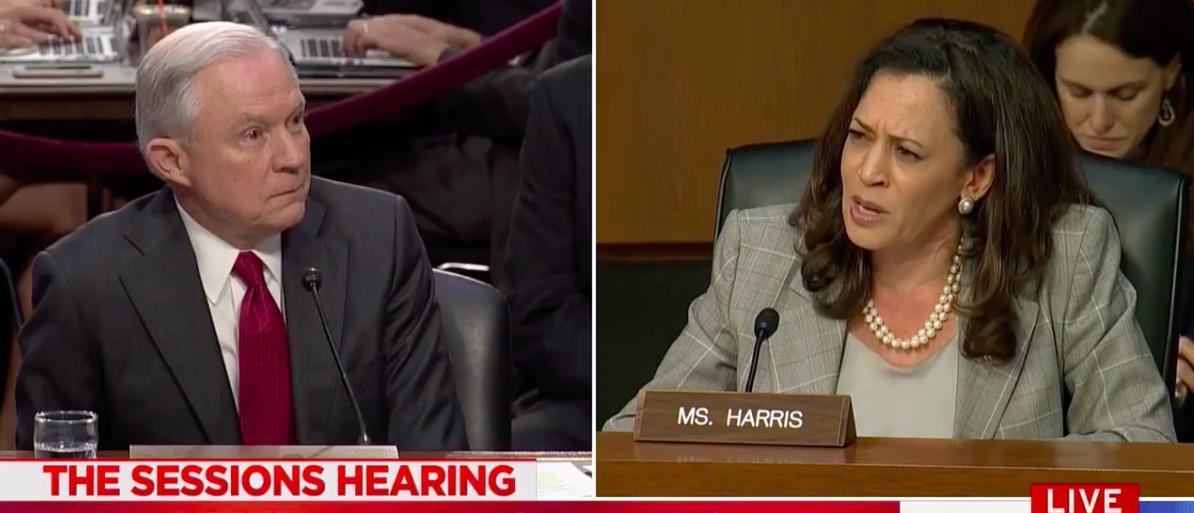 Screen Shot Kamala Harris And Jeff Sessions At Senate Intel Hearing (MSNBC: June 13, 2017)