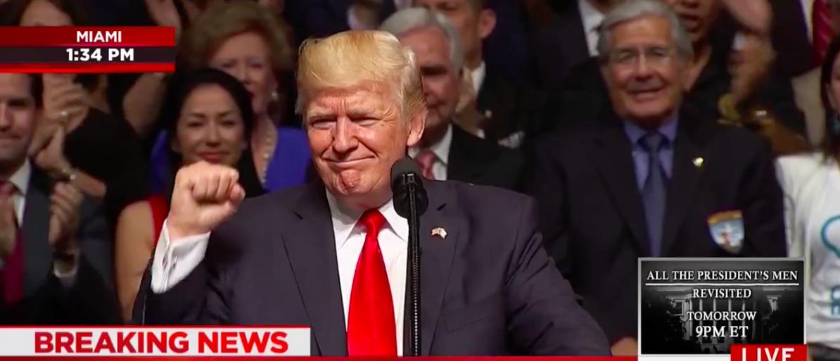 Screen Shot Trump Speaks In Little Havana (MSNBC: June 16, 2017)