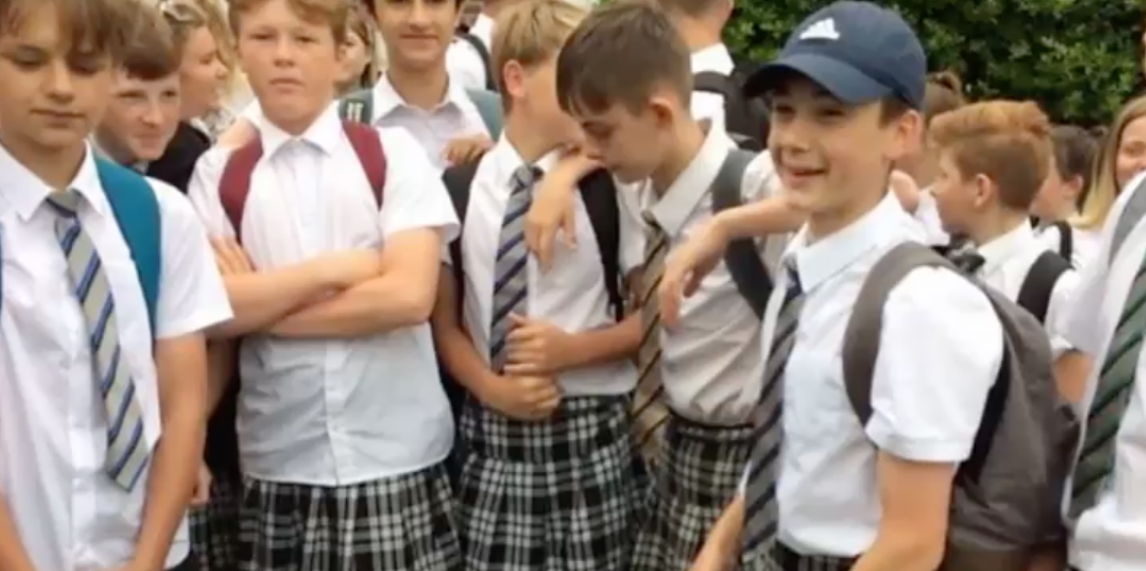 Boys at Exeter wear skirts because it's so hot (YouTube screenshot/Donald Trump Hot News)