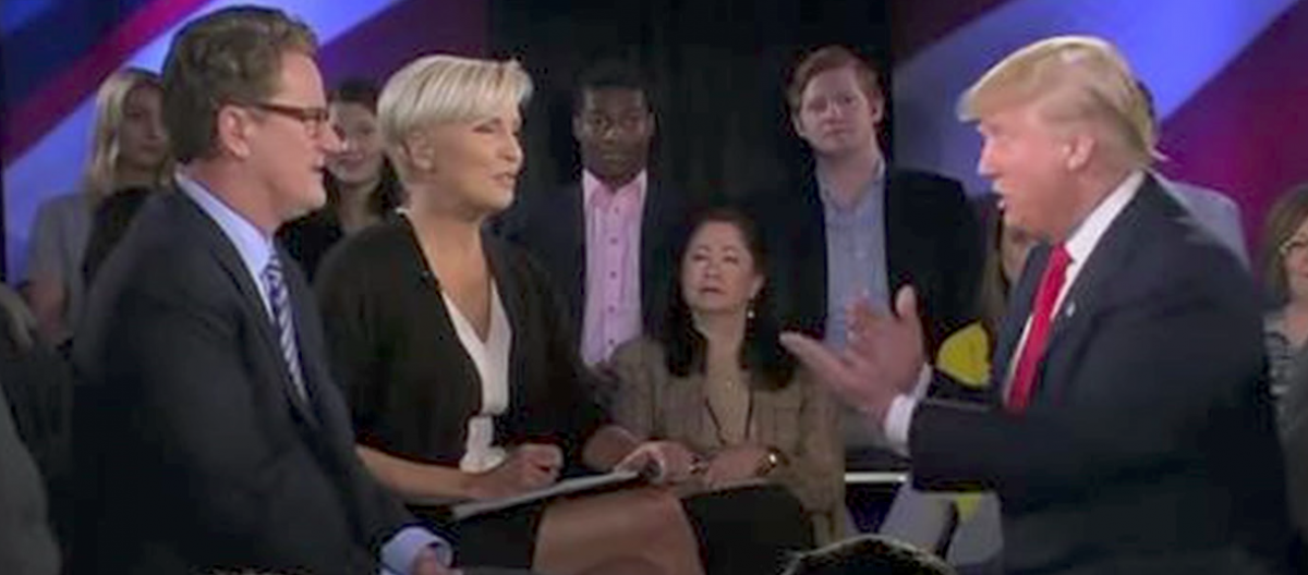 """Morning Joe"" hosts interview Donald Trump. (Youtube screen grab)"