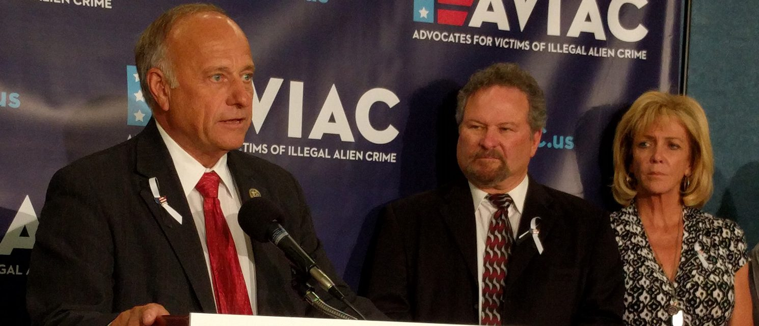 Rep. Steve King, an Iowa Republican, speaks at the launch ceremony for Advocates for Victims of Illegal Alien Crime (AVIAC) at the National Press Club on June 27, 2017. (PHOTO: Will Racke/TheDCNF)