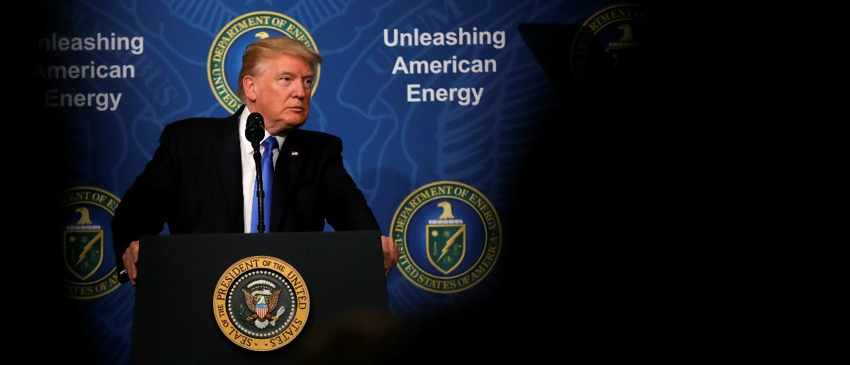 U.S. President Donald Trump delivers remarks during an 'Unleashing American Energy' event at the Department of Energy in Washington, U.S., June 29, 2017. REUTERS/Carlos Barria