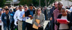 People wait in line to enter the Nassau County Mega Job Fair at Nassau Veterans Memorial Coliseum in Uniondale, New York: REUTERS/Shannon Stapleton