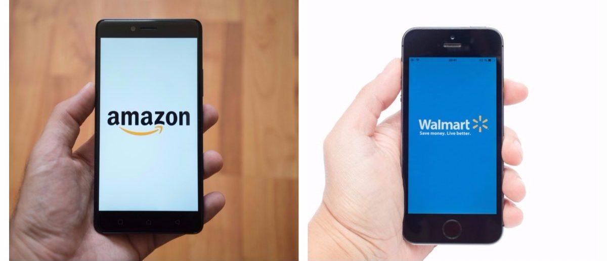 Left: Amazon app on a smartphone. [Shutterstock - Pe3k] Right: Walmart app on a smartphone. [Shutterstock - Vdovichenko Denis]