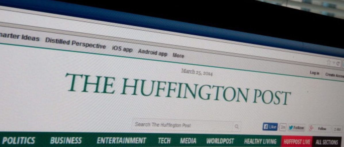 The logo of news website The Huffington Post is seen on a computer screen in Washington on March 25, 2014. AFP PHOTO/Nicholas KAMM (Photo credit should read NICHOLAS KAMM/AFP/Getty Images)