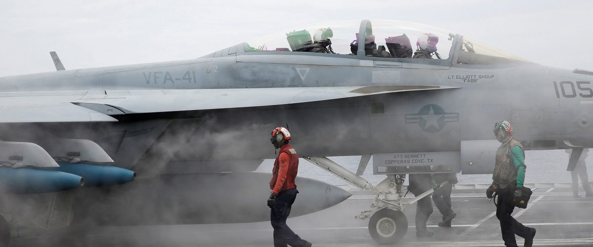 An F/A-18 Hornet fighter jet is seen on the U.S. aircraft carrier John C. Stennis during joint military exercise called Malabar, with the United States, Japan and India participating, off Japan's southernmost island of Okinawa