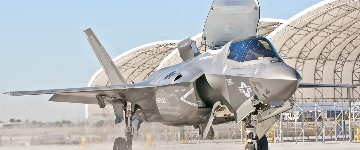 Handout photo of third Marine Aircraft Wing's first F-35B arrives on the Marine Corps Air Station Yuma flightline