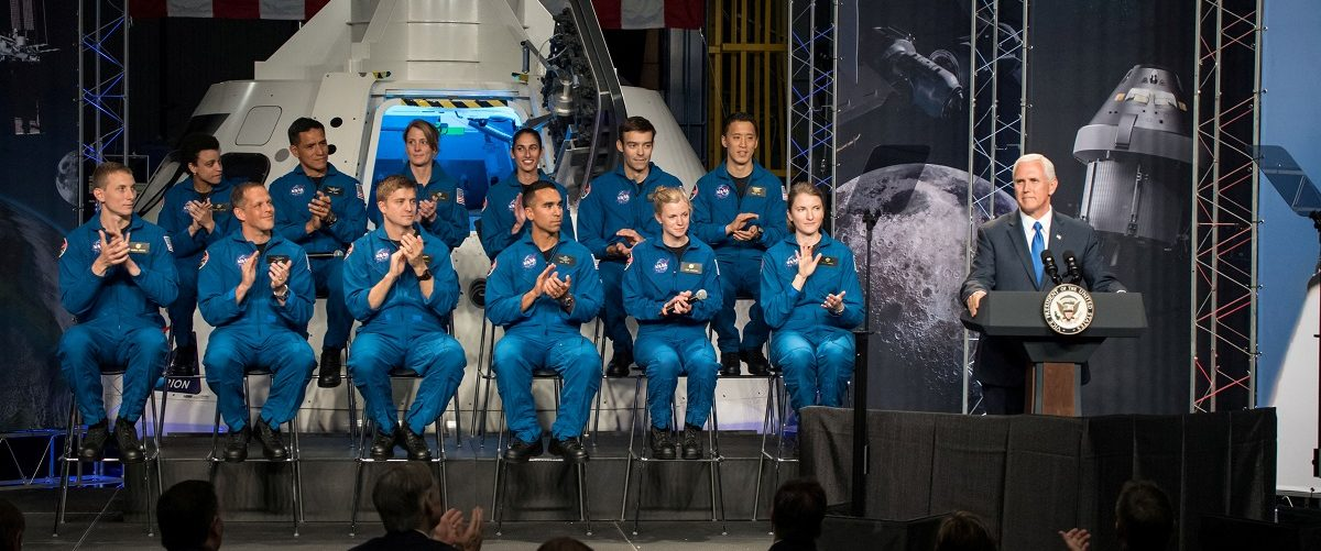 Vice President Pence delivers remarks during an event where NASA introduced 12 new astronaut candidates in Houston